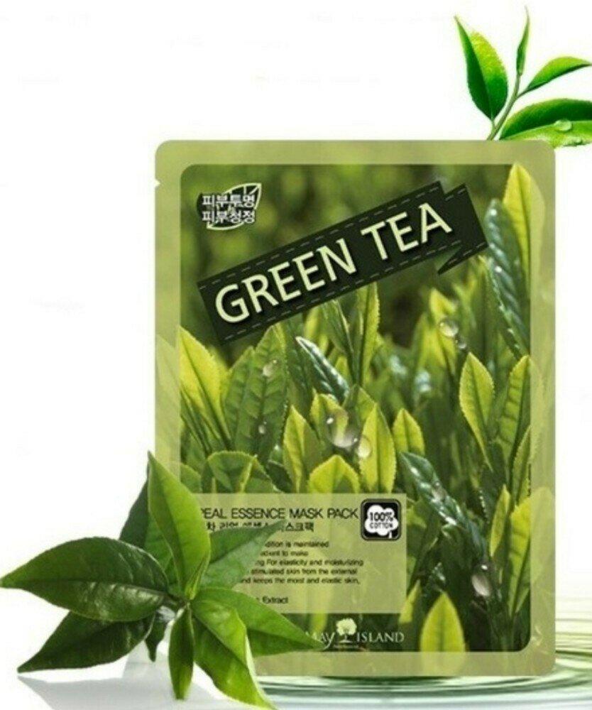 Тканинна маска з зеленим чаєм May Island Real Essence Green Tea Mask Pack
