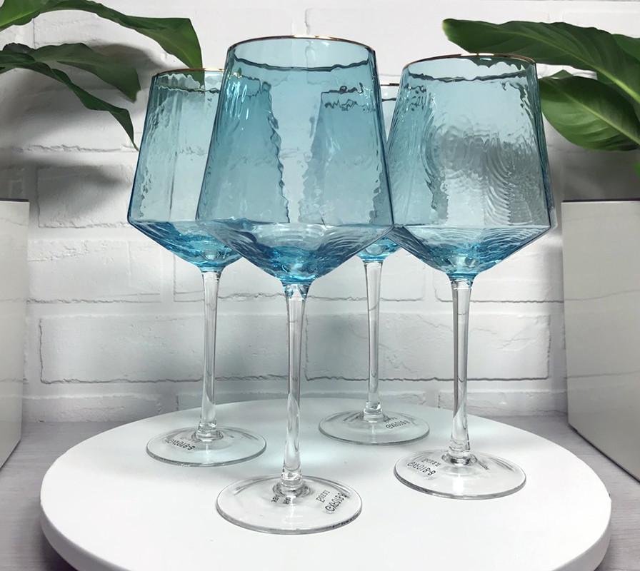 Келихи для вина бірюзові Richard Blue скло 600мл 4шт