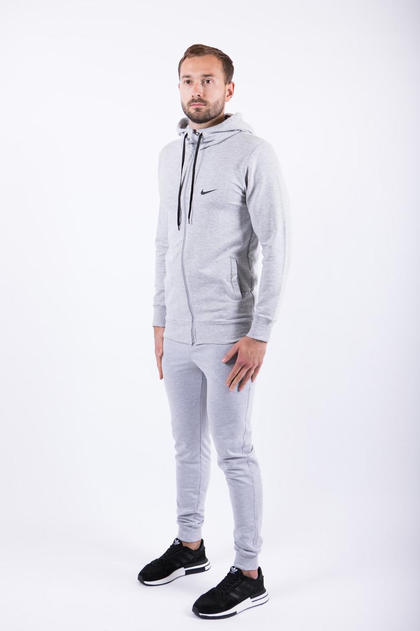 """Чоловічий спортивний костюм меланжева кофта з принтом """"Nike"""" і меланжеві штани"""