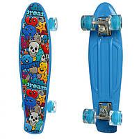 Скейт пластиковий Penny board с рисунком Для детей от 3-х лет Голубой