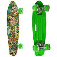 Детский пенни-борд (скейт) с подсветкой Profi с рисунком 55х15 см, зеленый 1
