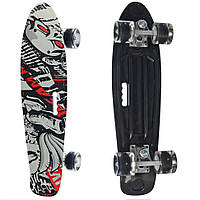 Пенни борд Скейтборд пластиковый с рисунком для мальчиков и девочек Черный 2