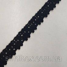 (1 метр) Кружево льняное 1,1см Цвет - Черный (М5003-7-3)