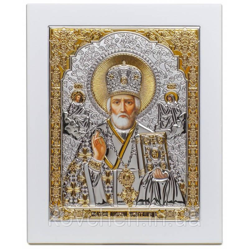 Икона Святой Николай Греческая Серебряная,13x15,5