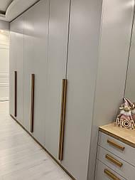Длинные дизайнерские ручки мебельные деревянные плакни (Г-образна)