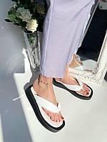 Шлепанцы вьетнамки кожаные белые на черной подошве, фото 1