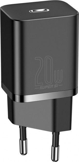 Сетевое зарядное устройство с поддержкой быстрой зарядки Baseus Super Silicone PD Charger 20W 3.1A Black