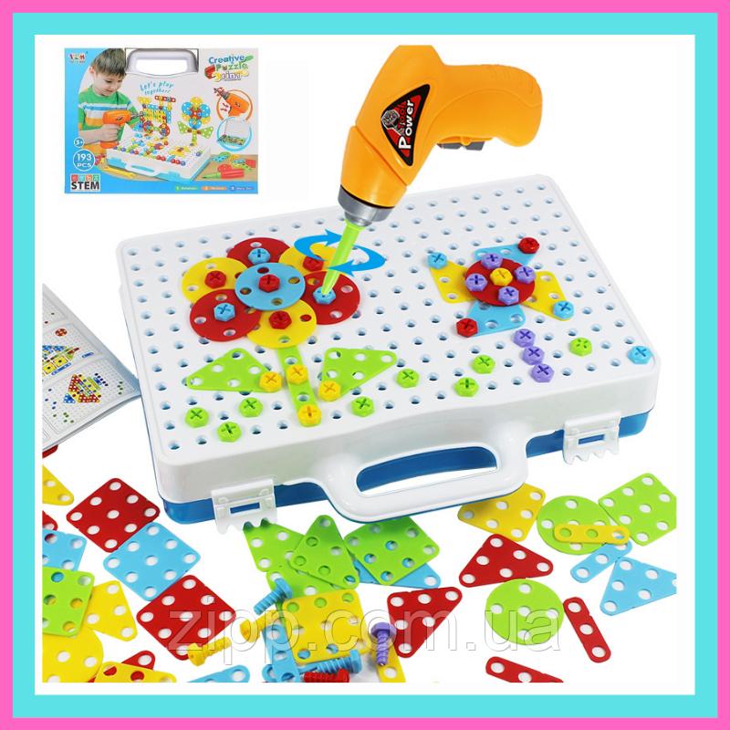 Детский конструктор мозаика с шуруповертом в чемодане 193 детали |  Конструктор с шуруповертом Creative Puzzle