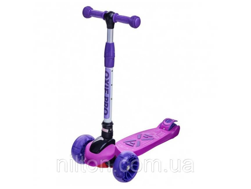 Детский трехколесный самокат Maraton Macro Oxie (светящиеся колеса) Фиолетовый
