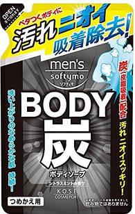 Kose Mens Softymo Charcoal Soap Citrus Mint  мужское жидкое мыло для душа с древесным углем , пополнение 400мл