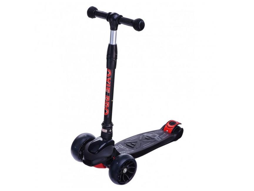 Дитячий триколісний самокат Maraton Macro Oxie (світяться колеса) Чорний