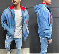 Мужская джинсовка с капюшоном, мужская джинсовая куртка синего цвета (синяя) Турция