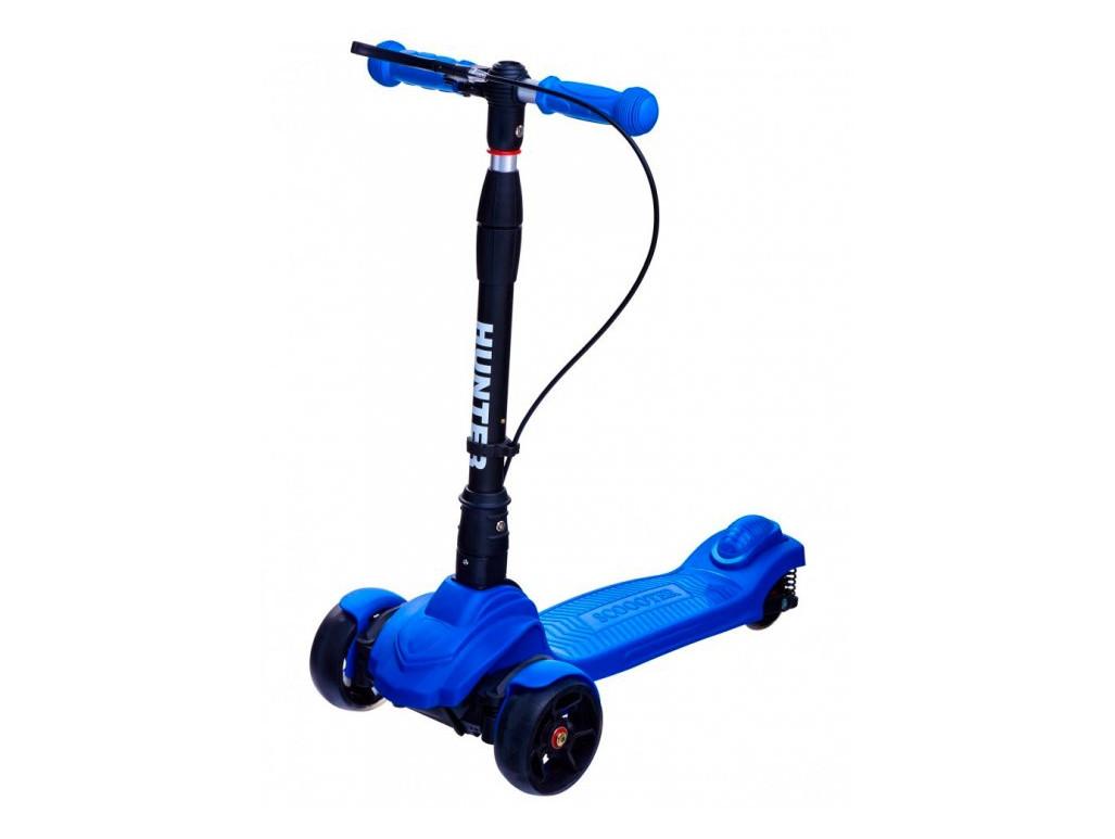 Детский трехколесный самокат Maraton Hunter (светящиеся колеса) Синий
