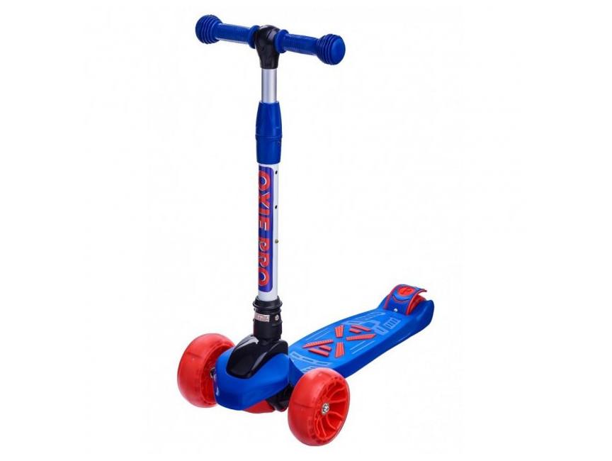 Дитячий триколісний самокат Maraton Macro Oxie (світяться колеса) Синій