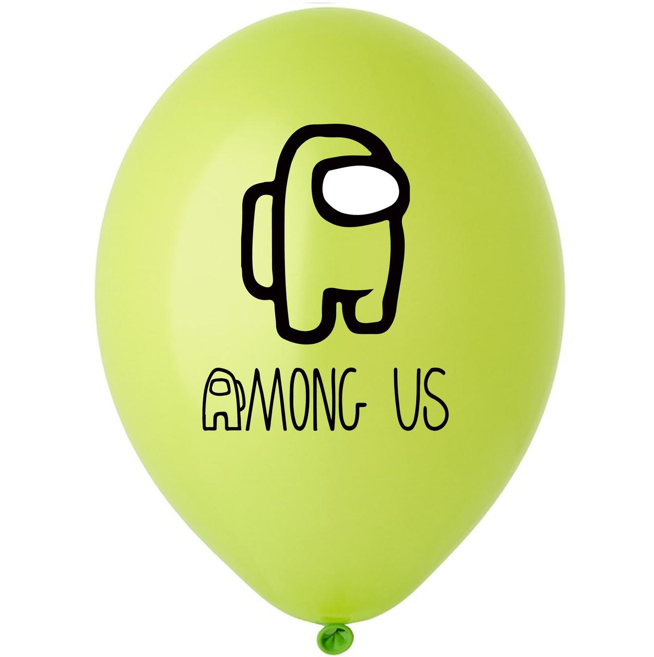 """Латексна кулька 12"""" зелена з  малюнком """"Among us"""" (BelBal)"""