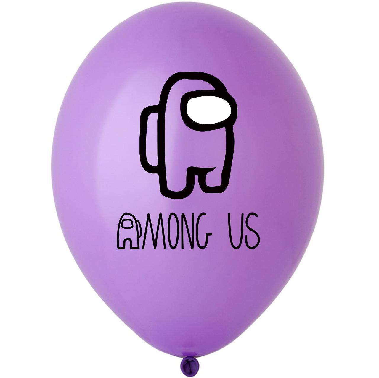 "Латексна кулька 12"" фіолетова з  малюнком ""Among us"" (BelBal)"