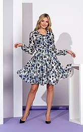 Шифоновое платье с отрезной юбкой в принт голубое  Style-Nika Маренго