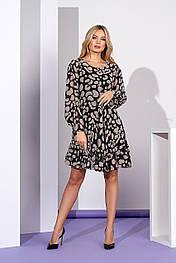 Шифоновое платье А силуэта с оборкой в принт Style-Nika Фенли