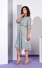 Шифоновое платье с отрезной юбкой в цветочный принт мятное Style-Nika Алегория