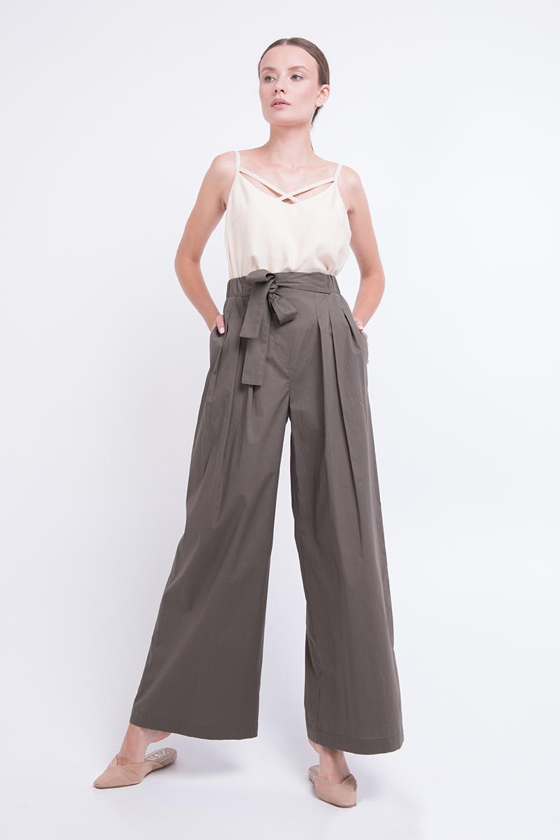 Жіночі брюки палаццо літні з котону хакі Lesya Аомі
