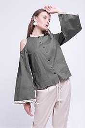 Женская блуза из котона с отделкой кружевом хаки Lesya Эмери 6
