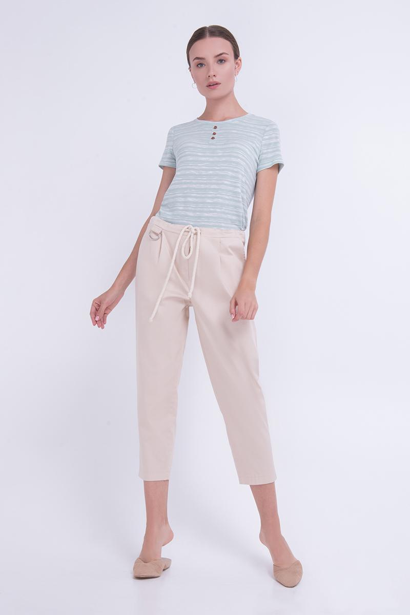 Жіночі котонові штани на резинці бежеві Lesya Емері 2