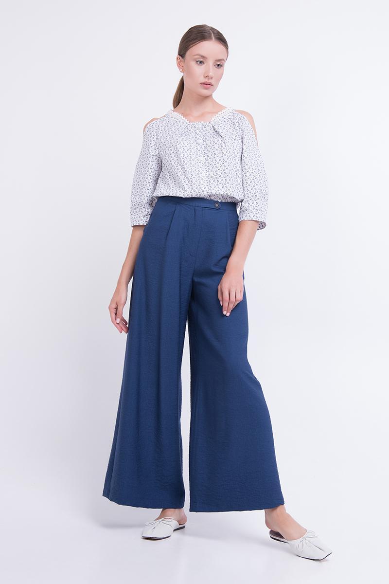 Женские брюки палаццо летние льняные синие Lesya Мерти 2