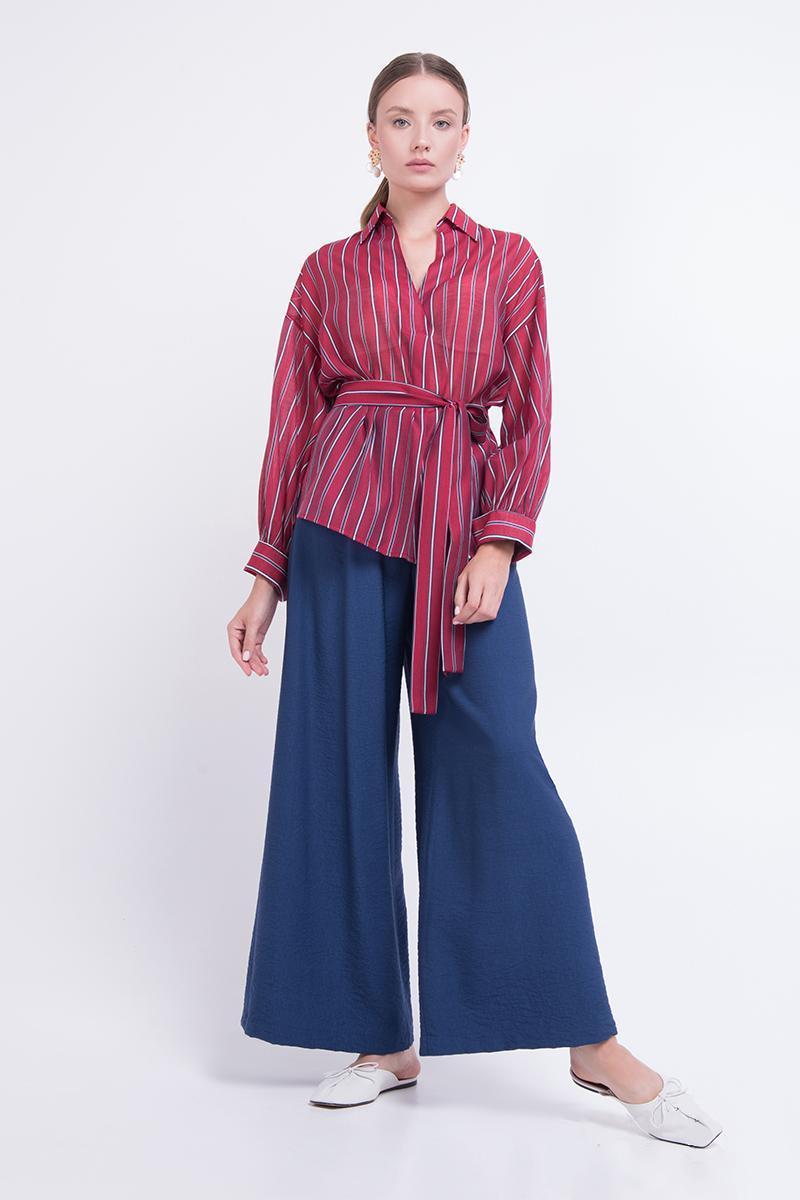 Блуза жіноча на запах в смужку бордова Lesya Мереть 2