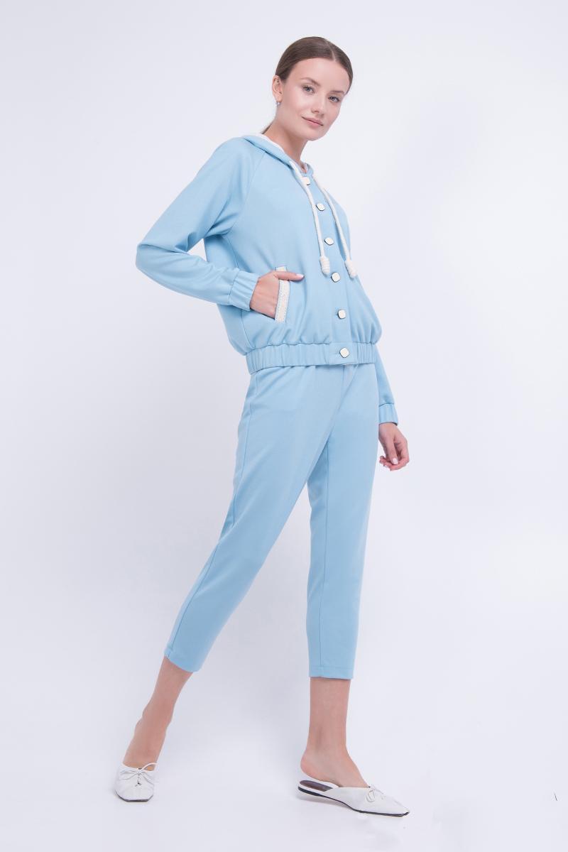 Жіночий прогулянковий костюм з худі і штанів трикотажний блакитний Lesya Индин