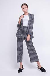 Женский  костюм  из жакета и брюк в  полоску серый льняной Lesya Манук 2