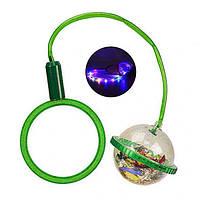 Скакалка на ногу светящаяся детская Ice Hoop нейроскакалка с подсветкой шар с конфетти Зеленая