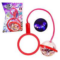 Нейроскакалка на ногу светящаяся детская Ice Hoop скакалка с подсветкой шар с конфетти Красная