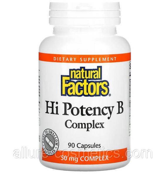 Високоефективний комплекс вітамінів групи B Natural Factors Potency Hi B complex 90 капсул