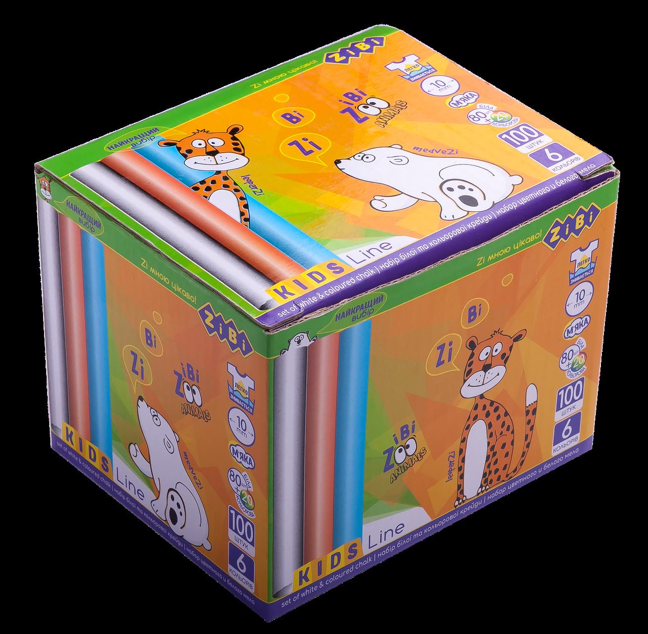 Крейда біла (80 шт)+кольоровий (20 шт.), круглий, карт. коробка, KIDS Line (ZB.6718-99)