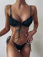 Раздельный женский купальник с лифом - сборкой на завязках и с низкими плавками (р. S, M, L) 68kl707