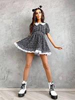 Цветочное шифоновое платье с воротником ,разные цвета, фото 1