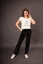 Спортивные велюровые брюки женские прямые черного цвета