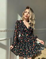 Цветочное платье с пышной юбкой и объемными рукавами