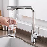 Смеситель для кухни для фильтрованной воды на раковину кран WanFan 2 вида подачи воды однорычажный Хром