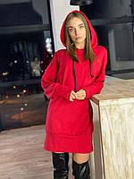 Платье худи женское стильное свободного кроя с капюшоном Smv5587