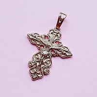 Позолочений фігурний хрест з розп'яттям