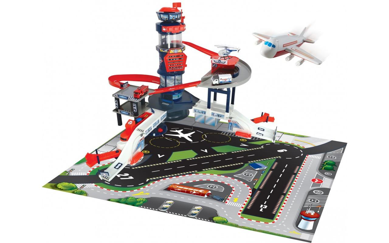 """Игровой набор """"Аэропорт с транспортом"""" (4 машинки, вертолет, самолет, звук, свет) Dickie Toys, 3+ (3749007)"""