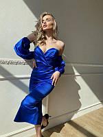 Элегантное атласное платье с объемными рукавами, разные цвета, фото 1