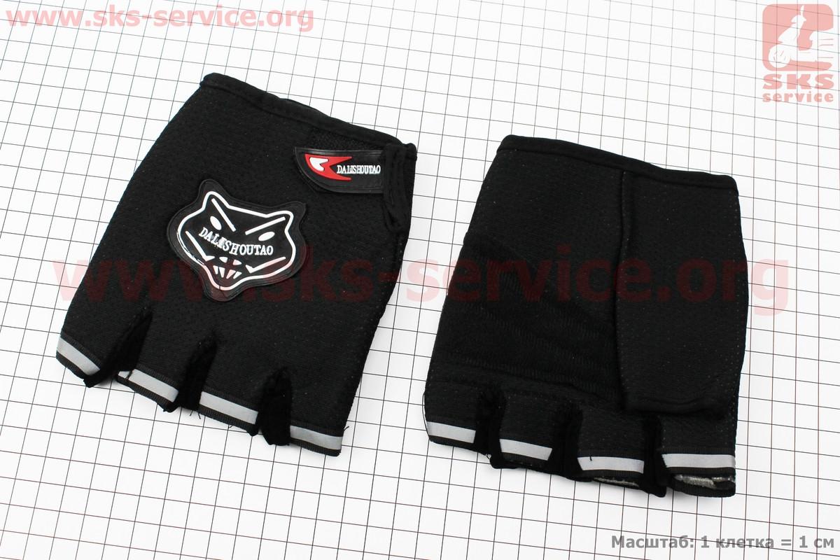 Мотоциклетні рукавички без пальців, чорні (337851)