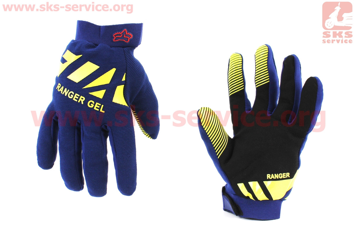 Мотоциклетні рукавички M-сині, з гелевими вставками під долоню (354086)