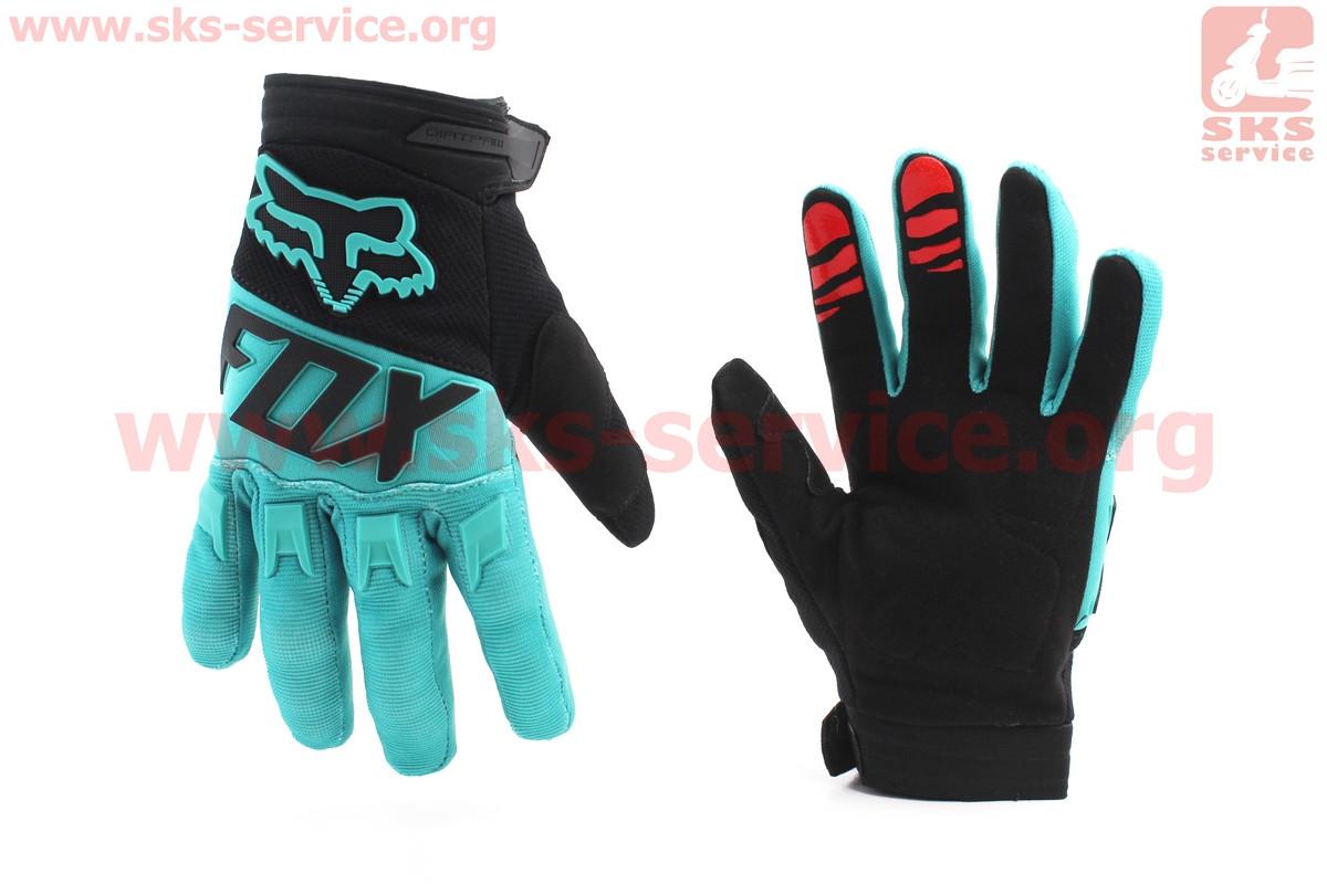 Мотоциклетні рукавички M-чорно/бірюзові (354078)