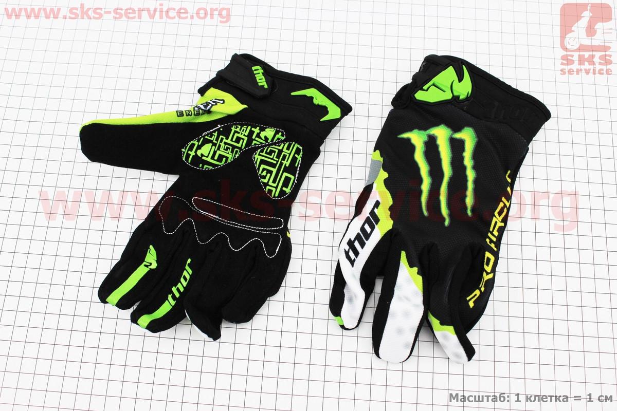 Перчатки мотоциклетные L-зеленые, тип 3 (337893)