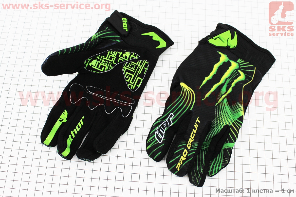 Перчатки мотоциклетные L-зеленые, тип 4 (337895)