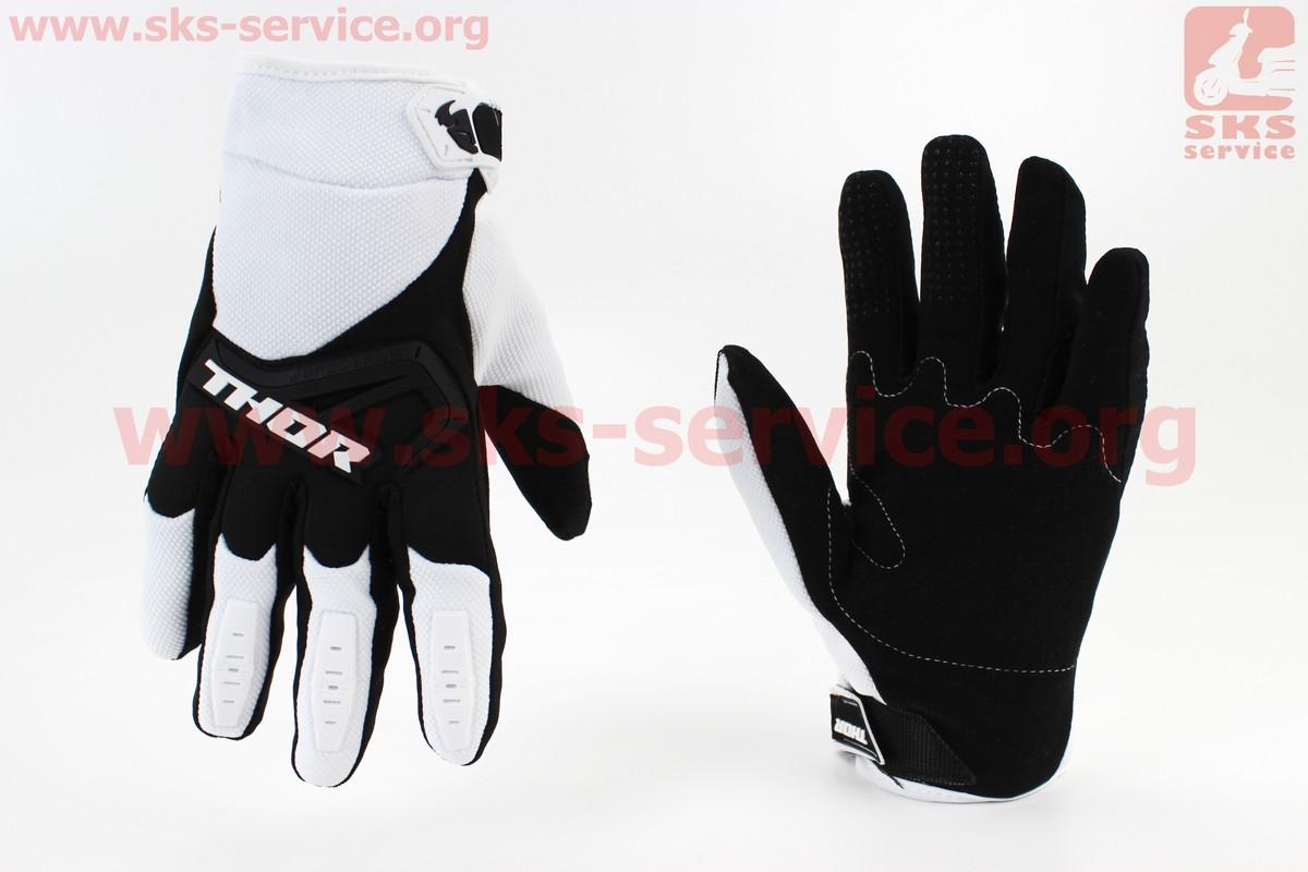 Перчатки мотоциклетные L-черно/белые (354093)