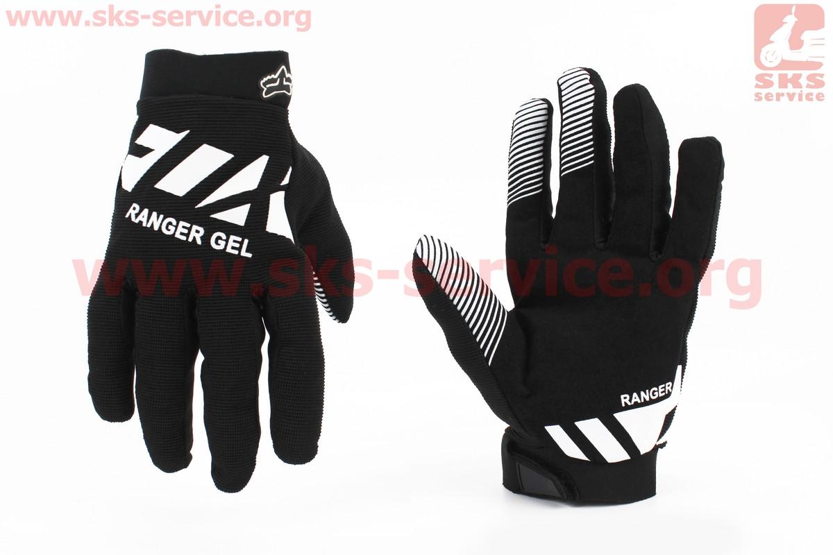 Мотоциклетні рукавички L-чорно/білі, з гелевими вставками під долоню (354084)